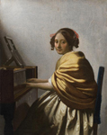 Johannes Vermeer (1632-1675). Young Woman Seated at a Virginal. ca. 1670-72. Oil on canvas. 25.5 x 20.1 cm